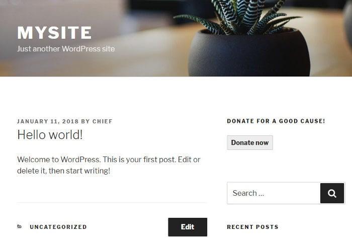 Donation option in sidebar widget