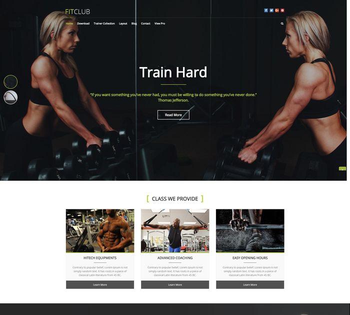 Free sports & fitness WordPress themes #1: FitClub