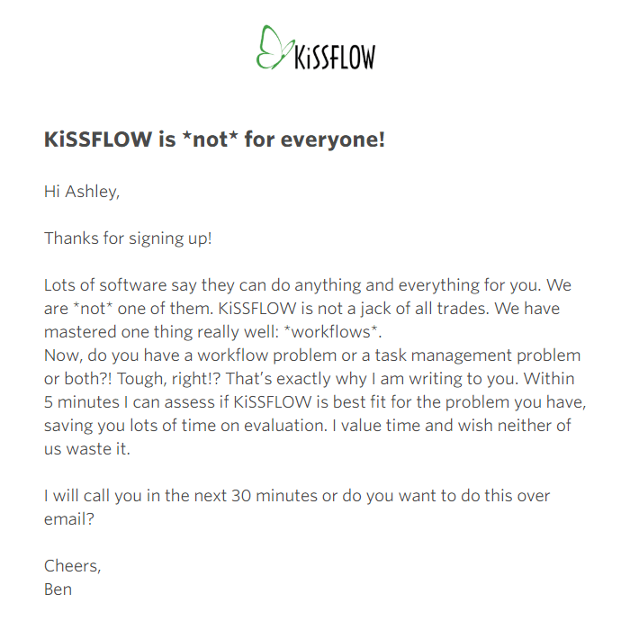 KissFlow Welcome Email