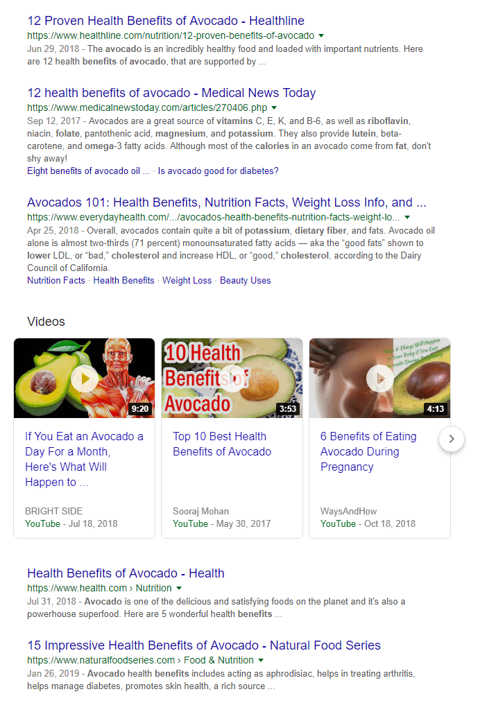 Looking up the benefits of eating avocados.