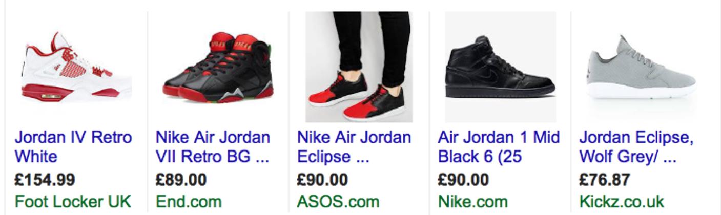 Alcuni esempi di annunci di Google Shopping.