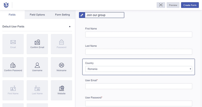 User Registration plugin create new form
