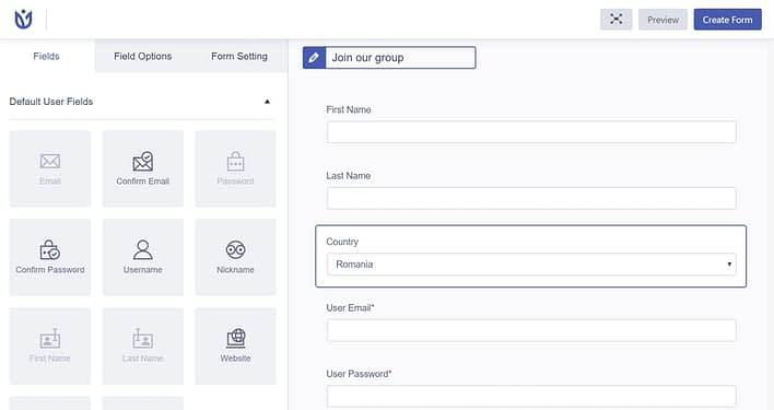 User Registration plugin create new form