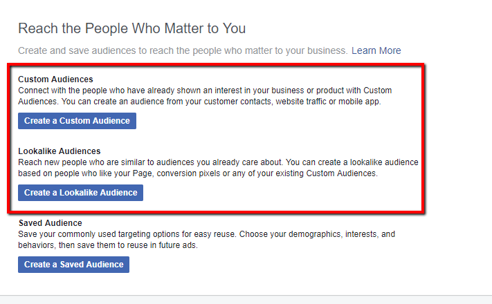 custom audience - customer persona
