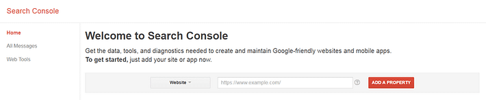Adding a property in Google Search Console.