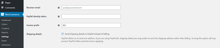 Configuring your PayPal settings.