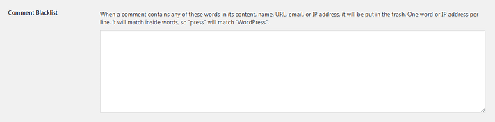 Creating a comment blacklist in WordPress is a good way to stop comment spam