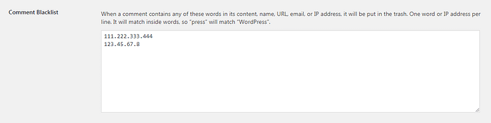 how to block IP addresses in WordPress comments