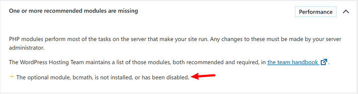 Missing PHP module in Site Health score