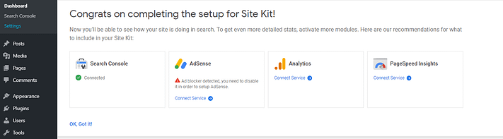 Adding more services using Site Kit.