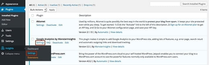 google-analytics-wordpress-plugin-settings