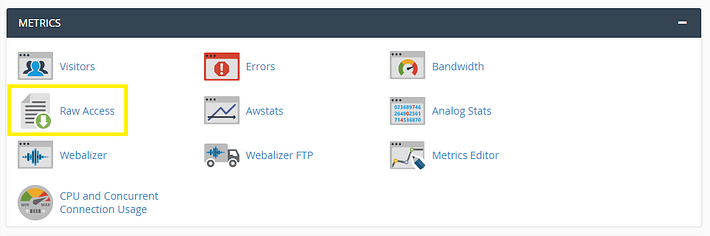 The Access Logs option in a web host control panel.