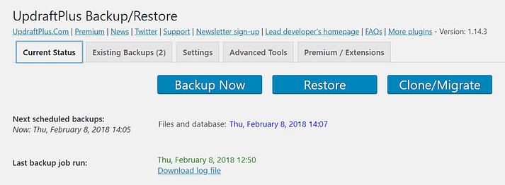 updraftplus ile ücretsiz bir WordPress sitesi yedekleme