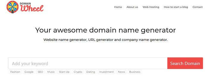 La page d'accueil de la roue du domaine.