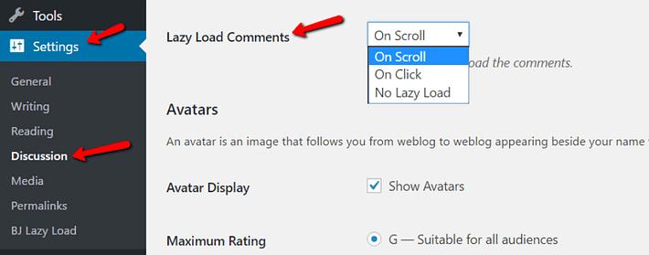 comentarios de wordpress de carga perezosa