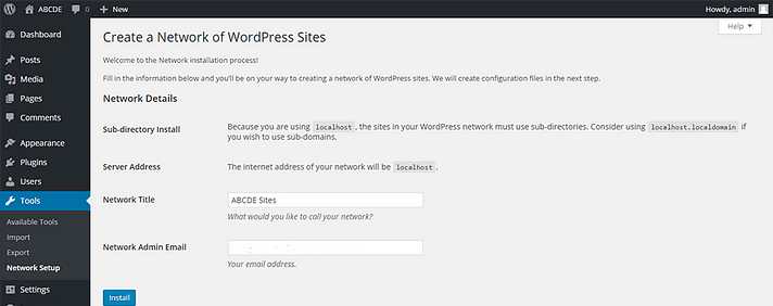 Install WordPress Multisite