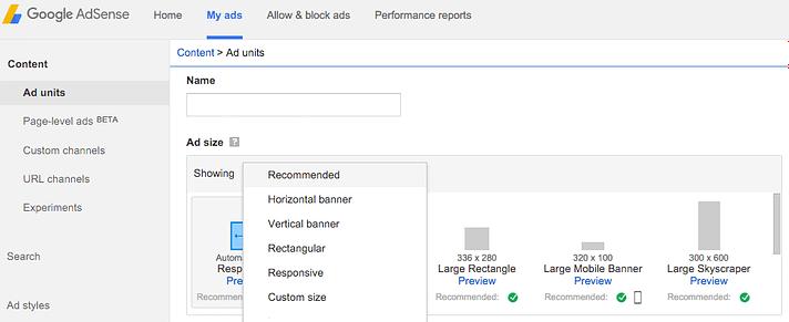 Google AdSense'teki reklam seçenekleri.