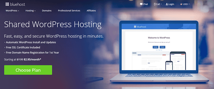 WP Engine vs Bluehost: Bluehost's WordPress shared hosting.