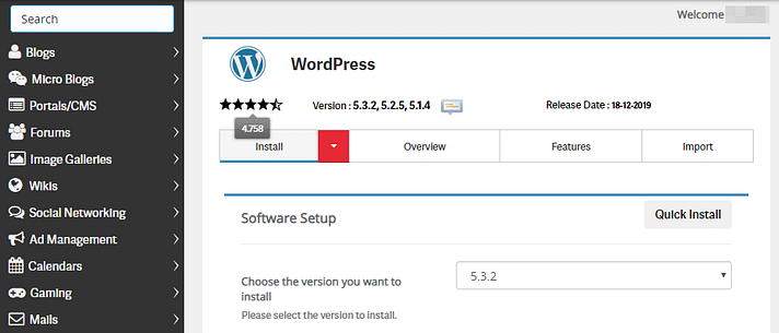 Using the Softaculous installer to set up WordPress.