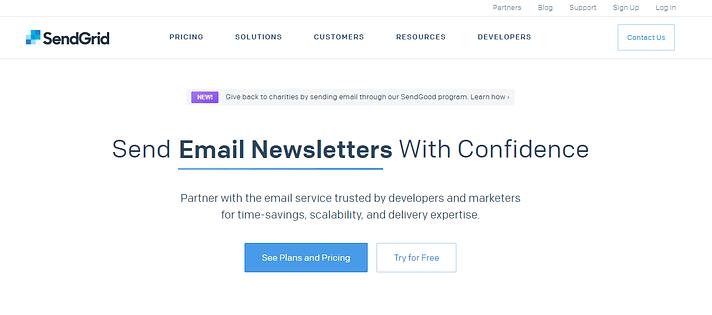 The SendGrid website.