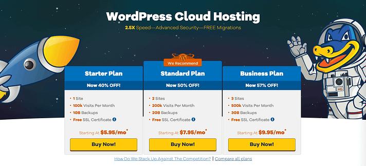 HostGator's WordPress hosting pricing table vs Bluehost