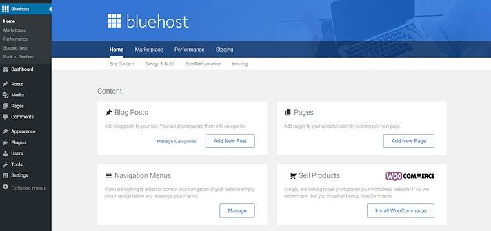 Bluehost vs Hostinger - Bluehost Menu