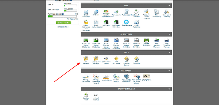 Where to find the cPanel File Manager tool