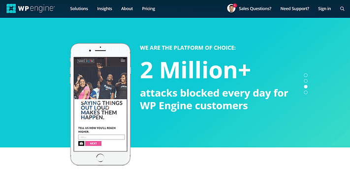 WP Engine vs Bluehost: The WP Engine homepage.