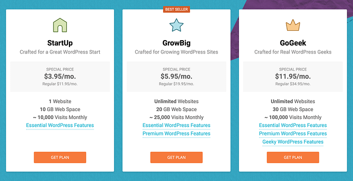 InMotion vs SiteGround hosting prices for SiteGround