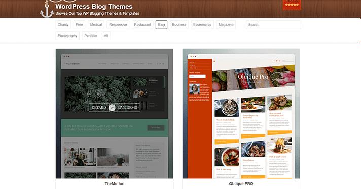 ThemeIsle'da blog temaları.