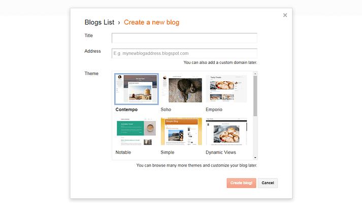 Blogger ile yeni bir blog oluşturma.