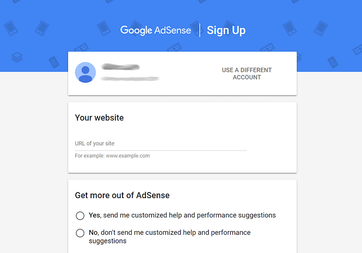 Google AdSense'e kaydolma formu.