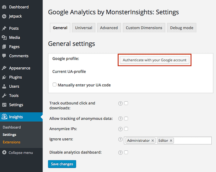 google-analytics-wordpress-plugin-authenticate