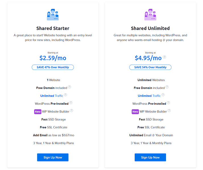 DreamHost vs Bluehost Pricing