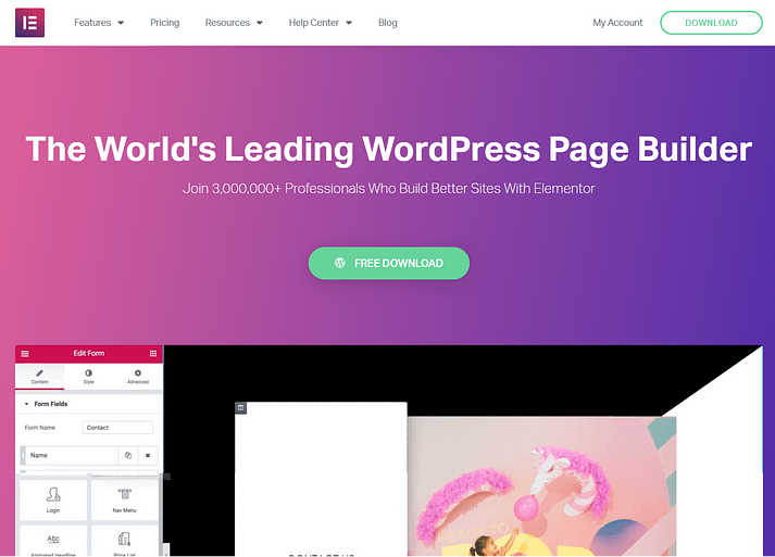 WordPress page builders: Elementor