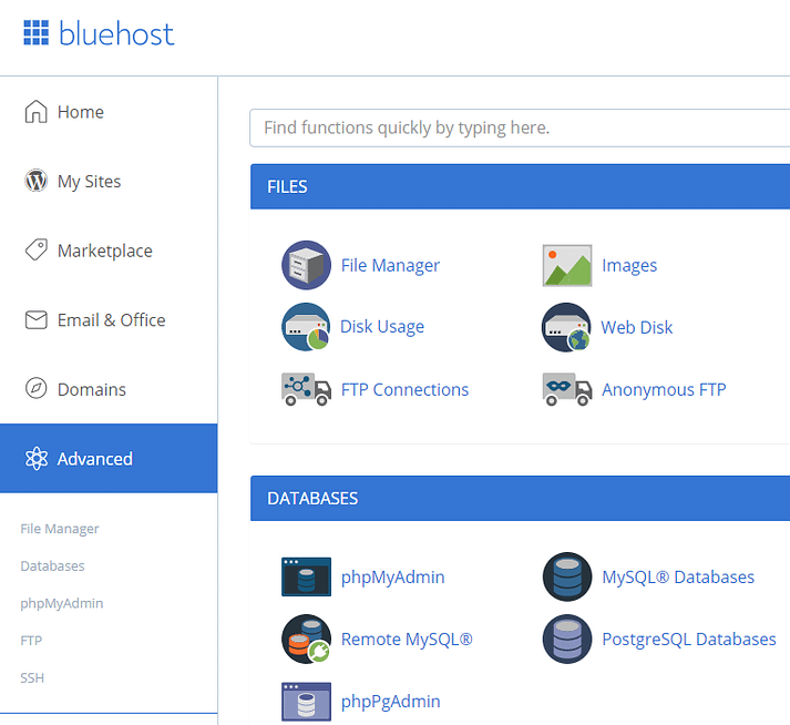 Accessing your Bluehost cPanel.