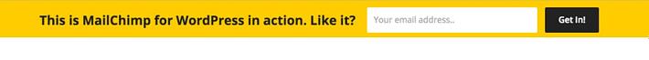 MailChimp Top Bar WordPress notification bar example