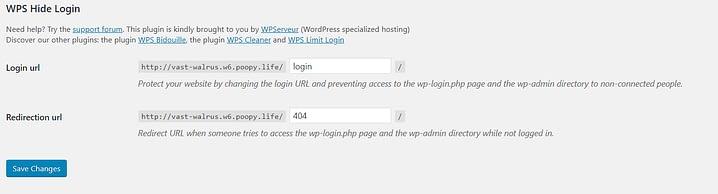 The WPS Hide Login plugin settings.