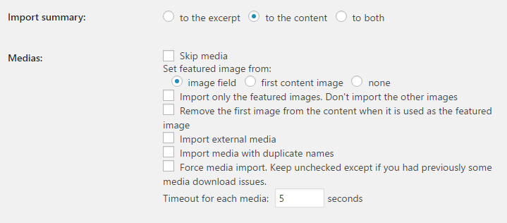 The plugin's settings for importing media.