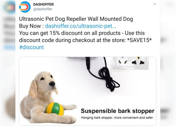 A discount code promotion on Twitter.