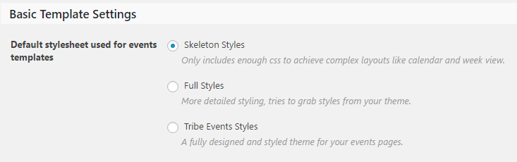 The three default styles for your events calendar.