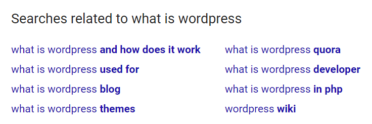 Related searches on Google.