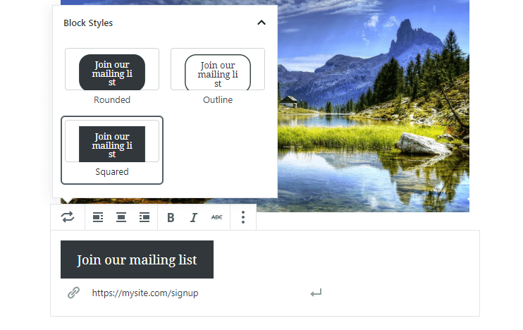 Changing your Gutenberg button style.