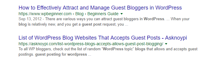 A search for blogs that accept guest post submissions.