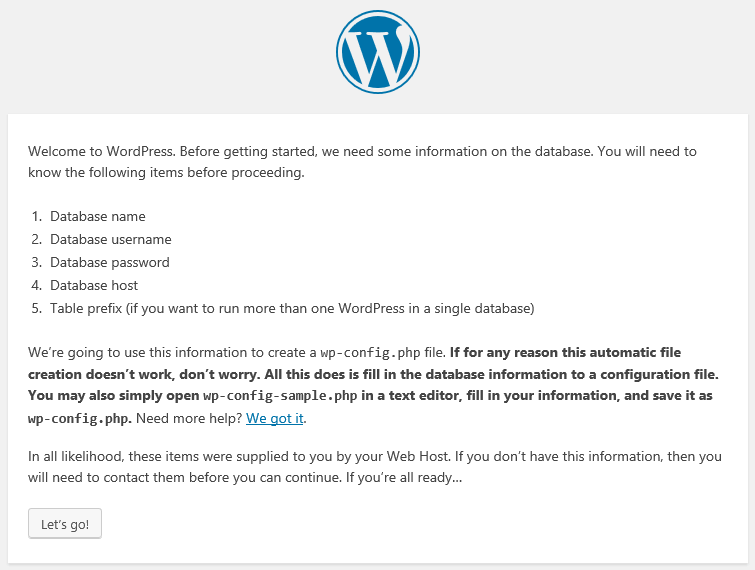 Instructions during the WordPress setup process.