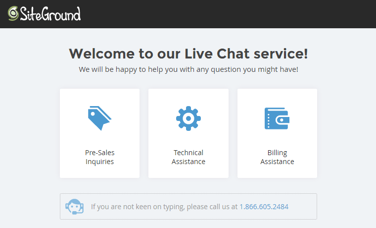 SiteGround's Live Chat system.