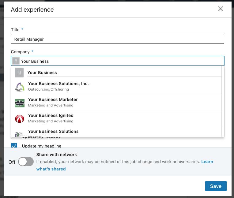 Selecting your job on LinkedIn.