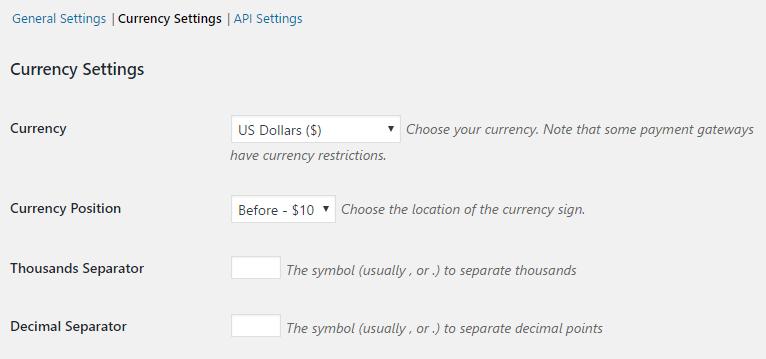 Easy Digital Download's currency settings.