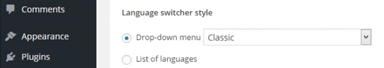 The option to select your language switcher's style.