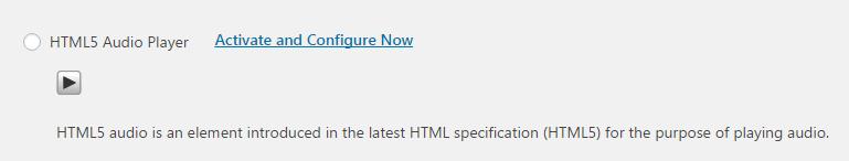 A screenshot of the HTML5 audio option.